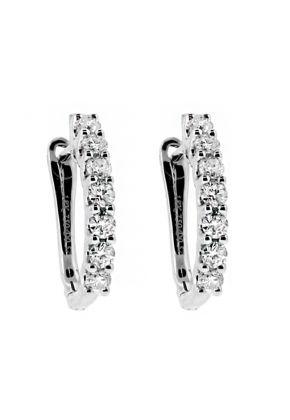 One Row Latch Back Diamond Huggie Style Earrings in 18kt White Gold