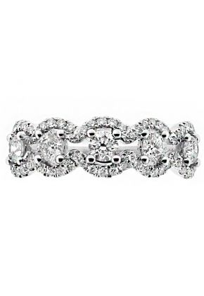 5 Stone with Curved Diamond Border Ladies Ring in 18kt White Gold