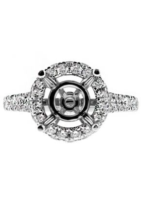 Diamond Round Side and Front Halo, Split Shank Engagement Ring Semi Mounting in 18kt White Gold