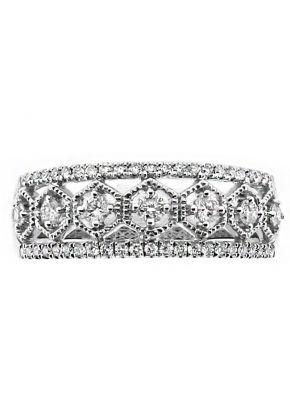 6.8mm Wide Open Hexagon Design Diamond Ring in 18kt White Gold