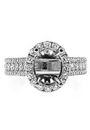 9x7mm Oval Halo, Diamonds in Every Angle, Engagement Ring Semi Mount