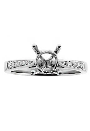 Very Thin Graduating Diamonds, Engagement Ring Semi Mount in 18kt White Gold