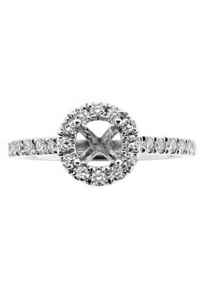 Round Halo, Thin Diamond Shank Engagement RIng Semi Mount in 18kt White Gold