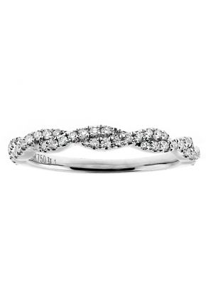 2.6mm Wide Diamond Closed Twist Ring Wedding Band in 18kt White Gold