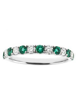 Alternating Emerald and Diamond Single Row Ladies Ring 2.5 mm Wide in 18kt White Gold