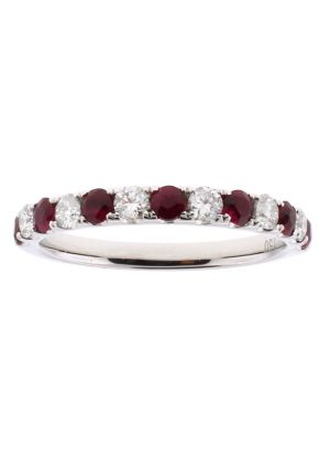 Alternating Ruby and Diamond Single Row Ladies Ring 2.5 mm Wide in 18kt White Gold