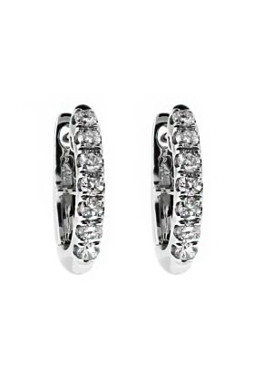 Small Diamond Thin Huggie Style Hoop Earring in 18kt White Gold