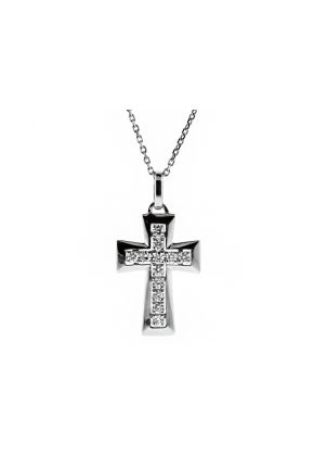 Diamond Cross with Graduating Gold Border in 18kt White Gold