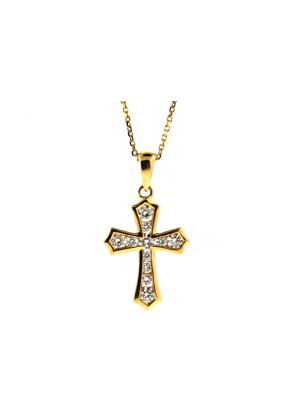 Diamond Cross with 11 Channel Set Diamonds in 18kt Yellow Gold