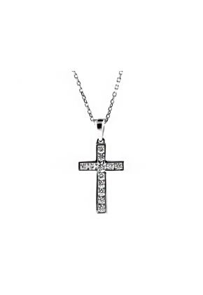 Diamond Cross with 12 Channel Set Diamonds in 18kt Yellow Gold