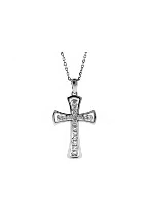 Diamond Cross with Curved Gold Border in 18kt White Gold