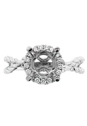 Circle Halo with Open Twist Rope Shank Engagement Ring Semi Mount in 18kt White Gold