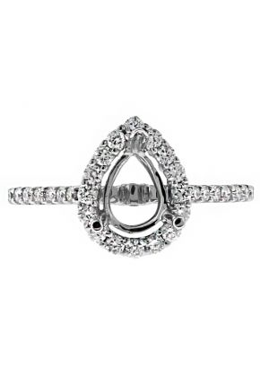 Diamond Pear Halo Engagement Ring Semi Mount in 18kt White Gold