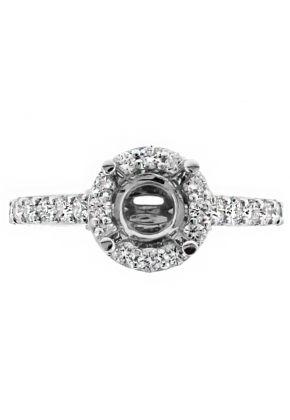 Circle Halo Diamond Engagement Ring Semi Mount in 18kt White Gold