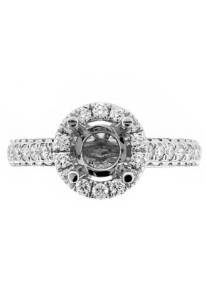 Semi Mount Round Halo Engagement Ring with Diamonds in 18k White Gold