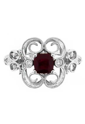 Vintage Lace Design Ruby and Diamond Ring in 18kt White Gold