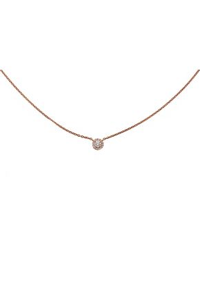 Tiny Diamond Solitaire with Halo 18kt Rose Gold Necklace