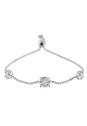 Bolo Bracelet with Diamonds in 18k White Gold