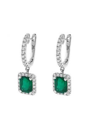Dangling Emerald Hoop Earrings with Diamonds in 18k White Gold