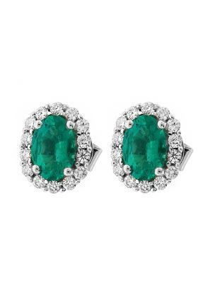 Oval Emerald Stud Earrings with Halo of Diamonds in 18k White Gold