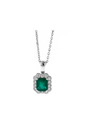 Rectangular Emerald Pendant Surrounded By Diamonds in 18k White Gold