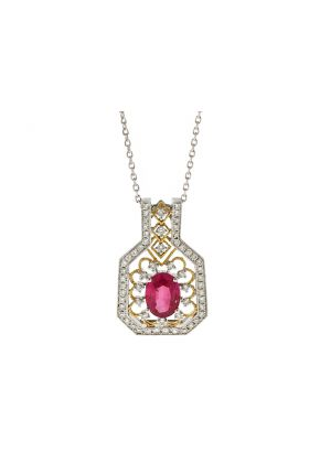 Ruby Two Tone Filigree Pendant with Diamonds in 18k White and Yellow Gold