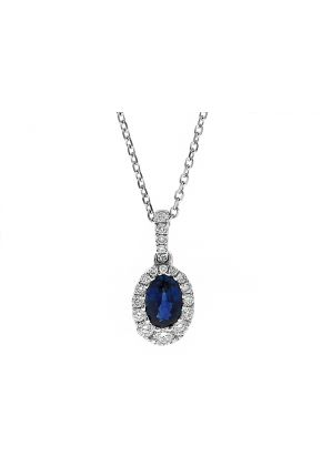 Oval Sapphire Pendant with Graduating Halo of Diamonds in 18k White Gold