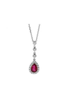 Dangling Ruby Drop Necklace with Diamonds in 18k White Gold