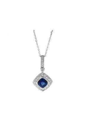 Diamond Shaped Sapphire Pendant with Diamonds in 18k White Gold