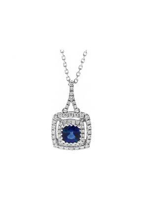 Double Halo Sapphire & Diamond Pendant in 18k White Gold