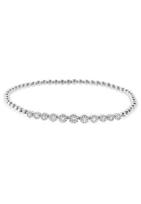 Beaded Design Bangle with Diamonds 18k White Gold