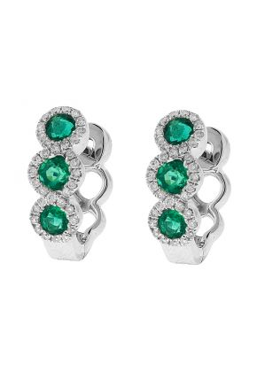 Three Tier Emerald Huggie Earrings with Crossover Halos of Diamonds in 18k White Gold
