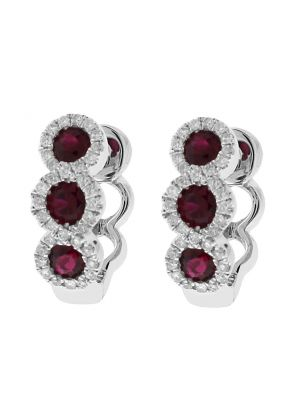 Three Tier Ruby Huggie Earrings with Crossover Halos of Diamonds in 18k White Gold