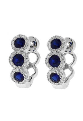 Three Tier Sapphire Huggie Earrings with Crossover Halos of Diamonds in 18k White Gold