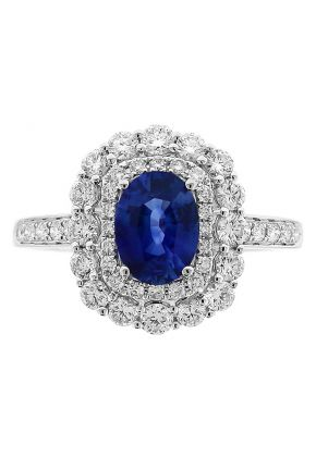 Double Halo Oval Sapphire Ring with Diamonds in 18k White Gold