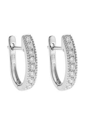 18k White Gold Huggie Earrings with Diamonds Between Milgrain Design
