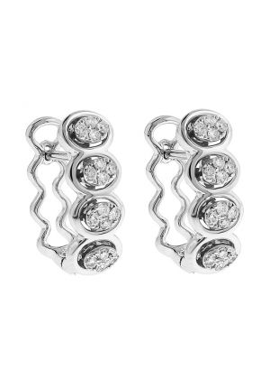 Diamond Huggie Earrings with Wavy Design in 18k White Gold