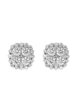Cushion Shape Diamond Cluster Earrings / Studs - 18kt White Gold Jewelry