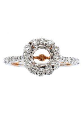 Two Tone Diamond Engagement Ring - 18k White and Rose Gold - Round Halo - Semi Mount