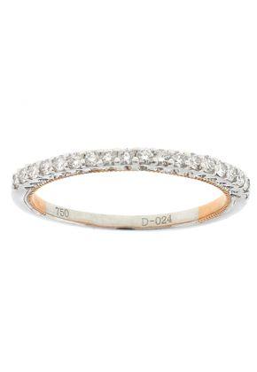 Two Tone Diamond Wedding Band - 18k White & Rose Gold Ring