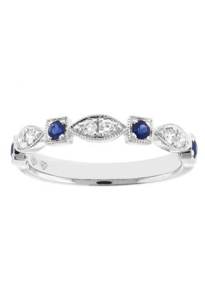 Sapphire & Diamond Band - 18k White Gold Milgrain Ring - Vintage Inspired