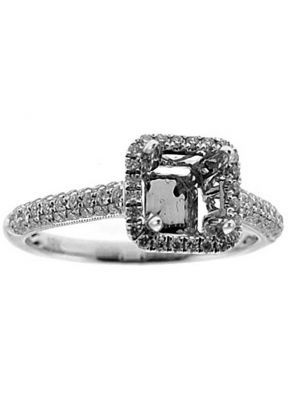Square Box Halo with Pave Shank Engagement Ring Semi Mount