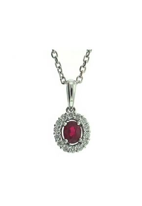 Oval Ruby with Diamond Halo Pendant in 18kt White Gold